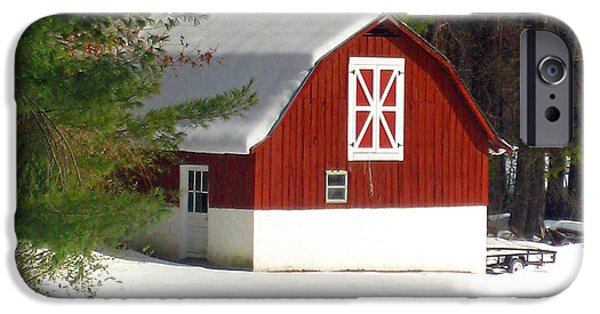 Christmas Greeting iPhone Cases - Snow Barn iPhone Case by Lisa Jones