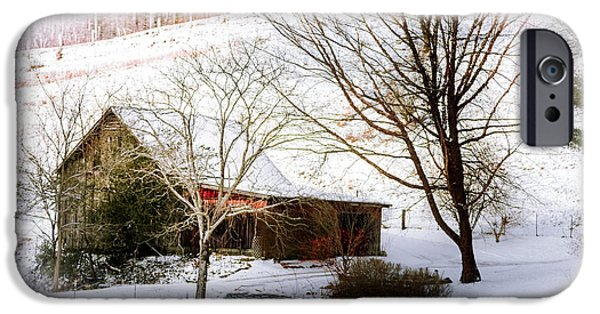 Red Barn In Winter iPhone Cases - Snow Blanket iPhone Case by Karen Wiles