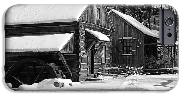 Grist Mill iPhone Cases - Snow Bound in Black and White iPhone Case by Paul Ward