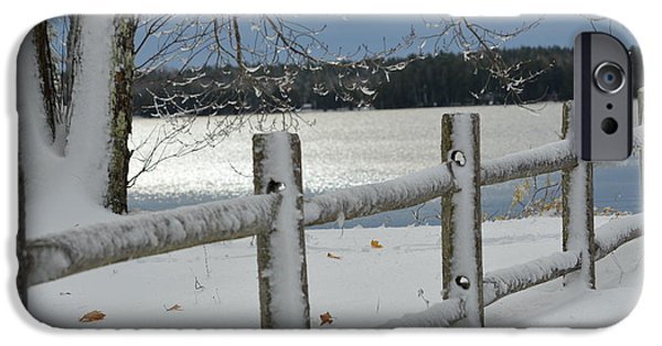Winter In Maine iPhone Cases - Snow Brushed Fence iPhone Case by Lena Hatch