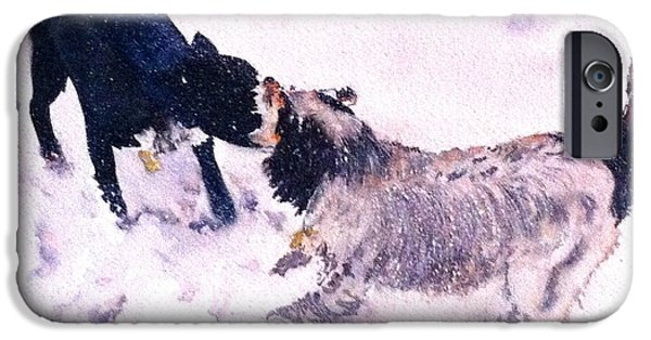 Dogs In Snow. Paintings iPhone Cases - Snow Buddies iPhone Case by Lynda Nolte