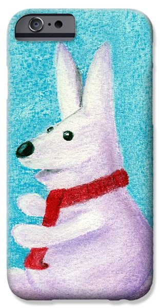 Animal Cards Pastels iPhone Cases - Snow Bunny iPhone Case by Anastasiya Malakhova