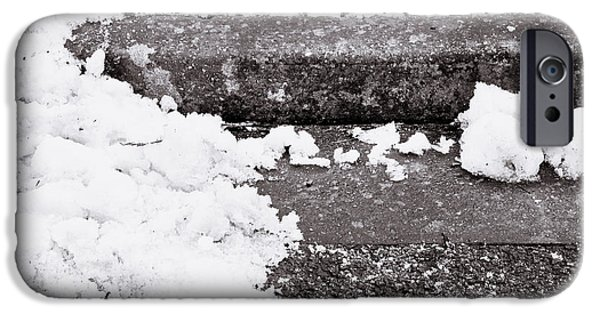 Asphalt iPhone Cases - Snow by the kerb iPhone Case by Tom Gowanlock