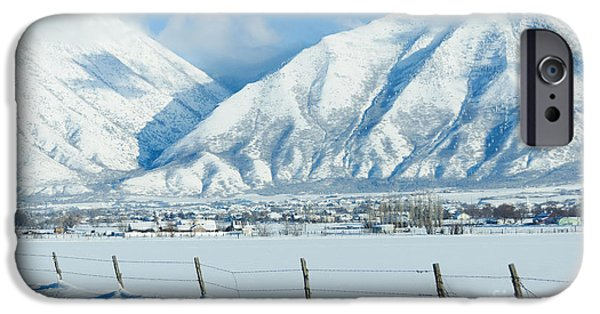 Snow iPhone Cases - Snow capped mountains iPhone Case by Gloria Pasko