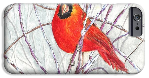Winter Storm Drawings iPhone Cases - Snow Cardinal iPhone Case by Carol Wisniewski