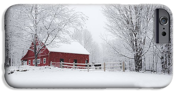 Red Barn In Winter iPhone Cases - Snow Country iPhone Case by Robert Clifford