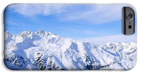 Winter Scene iPhone Cases - Snow Covered Alps, Schonjoch, Tirol iPhone Case by Panoramic Images