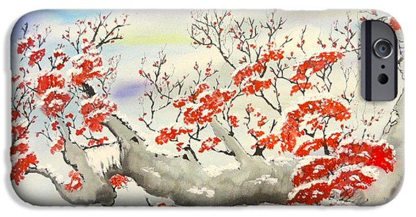 Winter Scene iPhone Cases - Snow Covered Blossoms iPhone Case by Shihan Albert Andrews