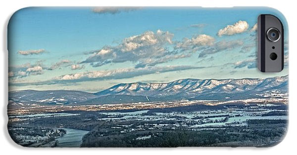 River View iPhone Cases - Snow Covered Blue Ridge iPhone Case by Lara Ellis
