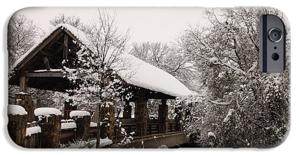 Business Photographs iPhone Cases - Snow Covered Bridge iPhone Case by Robert Frederick