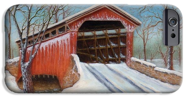 Snowscape Paintings iPhone Cases - Snow Covered Bridge iPhone Case by Lora Duguay