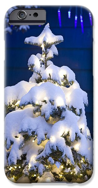 Snowy Night iPhone Cases - Snow Covered Christmas Tree With White iPhone Case by Kevin Smith