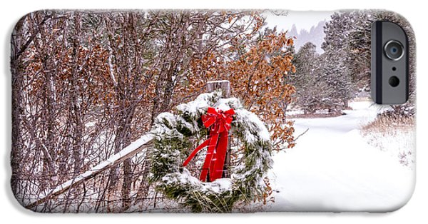 Snowy Day Photographs iPhone Cases - Snow Covered Christmas Wreath iPhone Case by Teri Virbickis