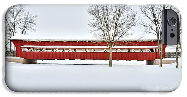 Covered Bridge iPhone Cases - Snow Covered Covered Bridge iPhone Case by Brian Mollenkopf