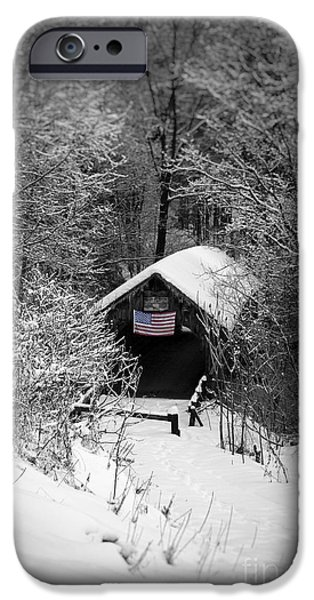 Covered Bridge iPhone Cases - Snow covered Covered Bridge  iPhone Case by Edward Fielding