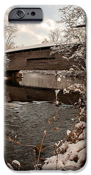 Wintertime iPhone Cases - Snow covered Kennedy Covered Bridge iPhone Case by Michael Porchik