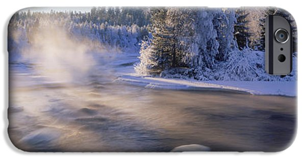 Snow Scene iPhone Cases - Snow Covered Laden Trees, Dal River iPhone Case by Panoramic Images