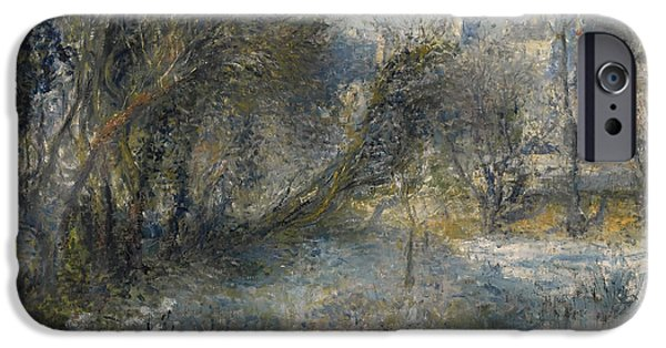 Snow-covered Landscape Paintings iPhone Cases - Snow Covered Landscape iPhone Case by Auguste Renoir