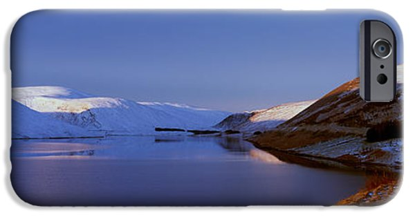Snow Scene iPhone Cases - Snow Covered Landscape Reservoir iPhone Case by Panoramic Images