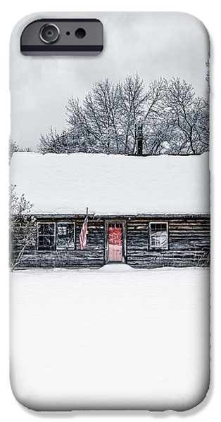 Red Door iPhone Cases - Snow Covered Log Cabin iPhone Case by Edward Fielding