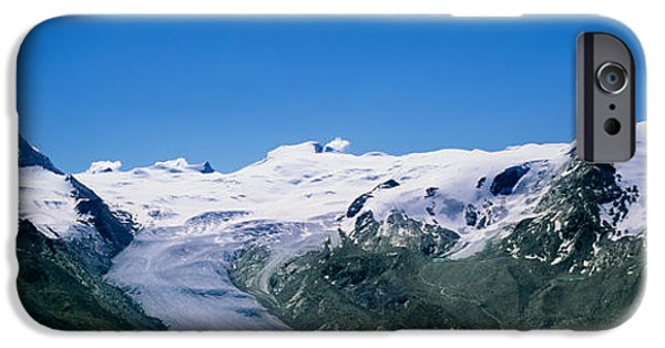 Winter Scene iPhone Cases - Snow Covered Mountain Range With A iPhone Case by Panoramic Images