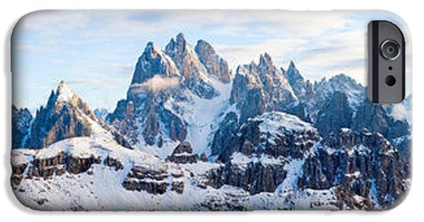 Snow Scene iPhone Cases - Snow Covered Mountains, Dolomites iPhone Case by Panoramic Images