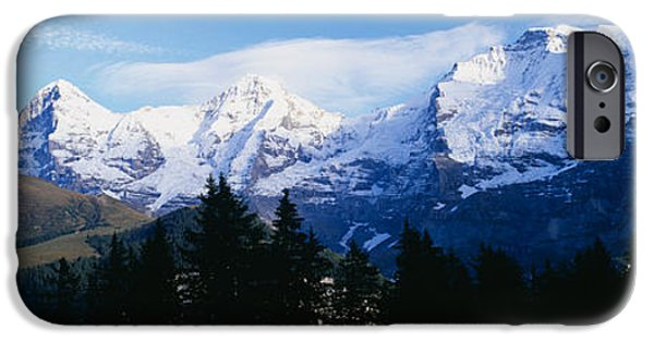 Mountain iPhone Cases - Snow Covered Mountains On A Landscape iPhone Case by Panoramic Images