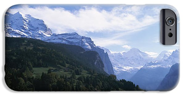 Mountain iPhone Cases - Snow Covered Mountains, Swiss Alps iPhone Case by Panoramic Images
