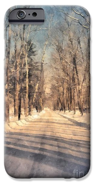 Country Snow iPhone Cases - Snow Covered New England Road iPhone Case by Edward Fielding