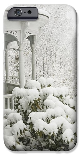 Winter In Maine iPhone Cases - Snow Covered Porch iPhone Case by Keith Webber Jr