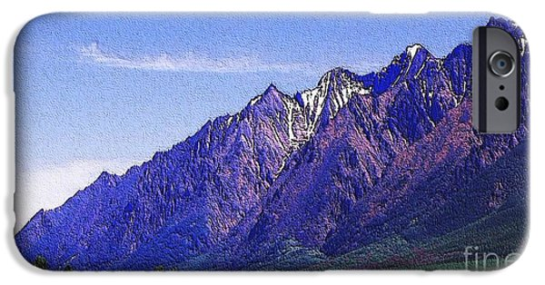 Painterartistfin iPhone Cases - Snow covered purple mountain peaks iPhone Case by PainterArtist FIN