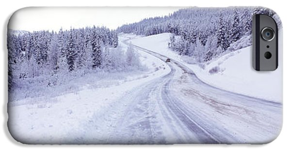 Winter Scene iPhone Cases - Snow Covered Road In Winter, Haines iPhone Case by Panoramic Images