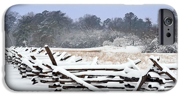 Yorktown Virginia iPhone Cases - Snow Covered Snake Fence iPhone Case by Nancy Comley