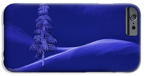 Business Digital Art iPhone Cases - Snow Covered Tree and Mountains Night iPhone Case by David Dehner