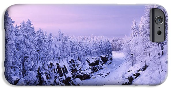 Snow Scene iPhone Cases - Snow Covered Trees In A Forest, Imatra iPhone Case by Panoramic Images