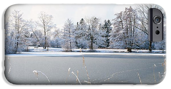 Frigid iPhone Cases - Snow Covered Trees Near A Lake, Lake iPhone Case by Panoramic Images
