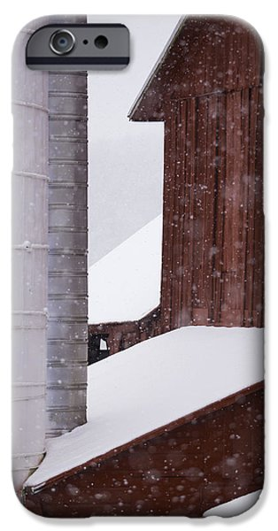 Red Barn In Winter iPhone Cases - Snow day iPhone Case by Douglas Stalker