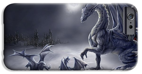 Dragon iPhone Cases - Snow Day iPhone Case by Rob Carlos