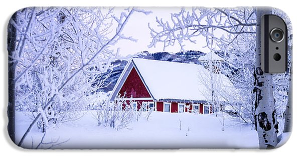 Red School House iPhone Cases - Snow Day iPhone Case by Teri Virbickis