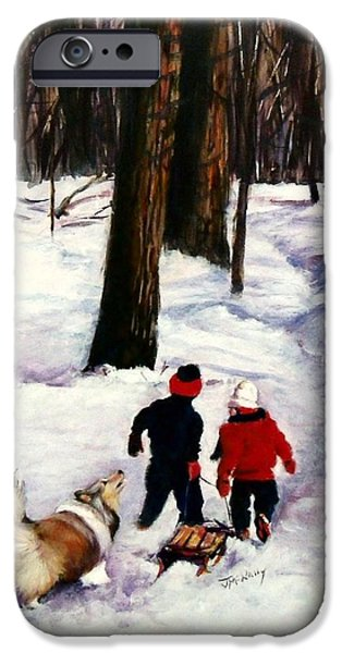 Sheltie iPhone Cases - Snow Days iPhone Case by Jeanne  McNally