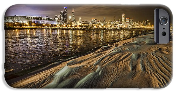 Soldier Field iPhone Cases - Snow drift and Chicago Skyline  iPhone Case by Sven Brogren