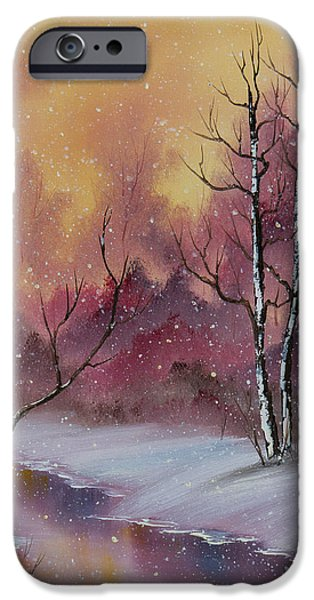 Bob Ross Paintings iPhone Cases - Winter Enchantment iPhone Case by C Steele