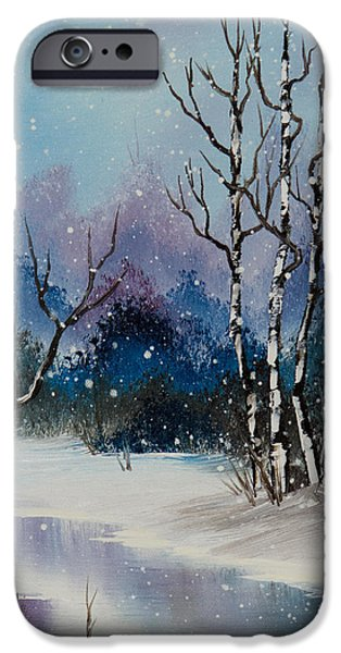 Bob Ross Paintings iPhone Cases - Winter Enchantment II iPhone Case by C Steele