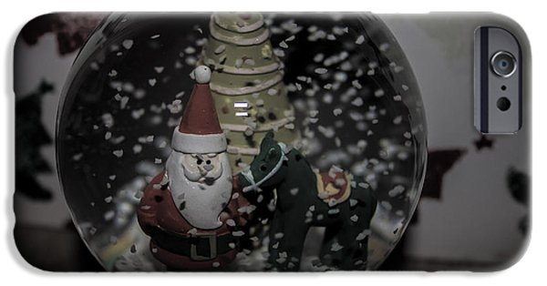 Father Christmas iPhone Cases - Snow Globe iPhone Case by Martin Newman