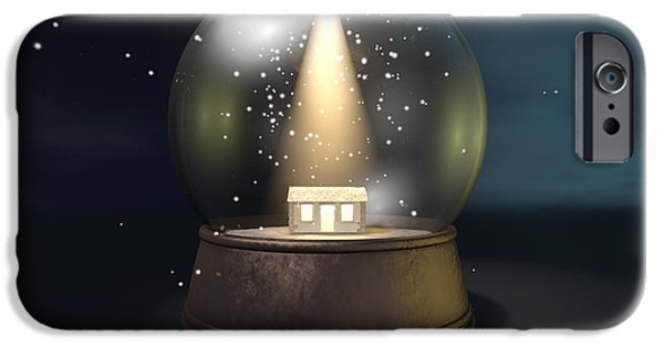 Star Of Bethlehem iPhone Cases - Snow Globe Nativity Scene Night iPhone Case by Allan Swart