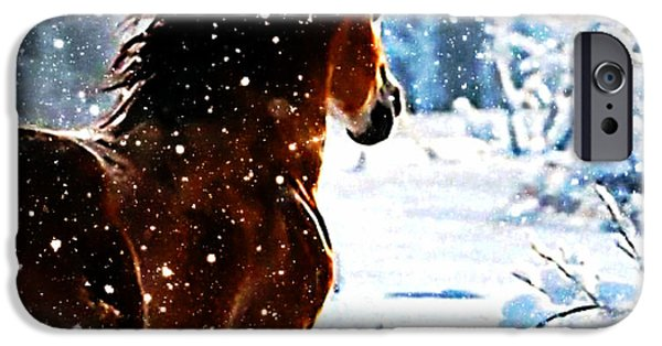 Michael Mixed Media iPhone Cases - Snow horse iPhone Case by M and L Creations