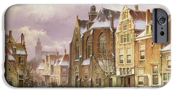 Basket Photographs iPhone Cases - Snow In Amsterdam iPhone Case by Willem Koekkoek