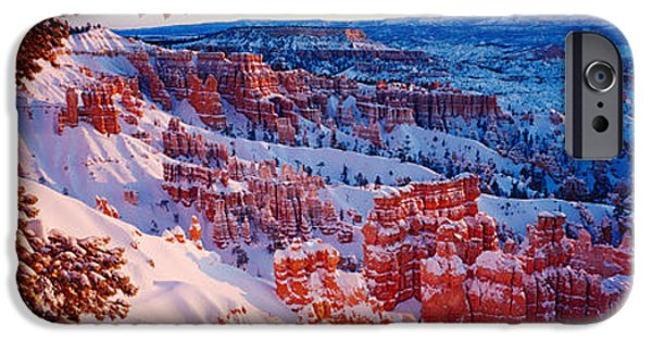Snow iPhone Cases - Snow In Bryce Canyon National Park iPhone Case by Panoramic Images