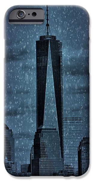 Empire State Mixed Media iPhone Cases - Snow In New York City iPhone Case by Dan Sproul