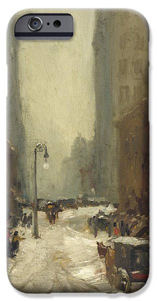 Concept Paintings iPhone Cases - Snow in New York iPhone Case by Henri